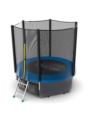 Батут EVO Jump External 6ft (Blue) + Lower net с внешней сеткой и лестницей + Нижняя сеть