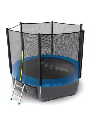 Батут EVO Jump External 8ft (Blue) + Lower net с внешней сеткой и лестницей + Нижняя сетка