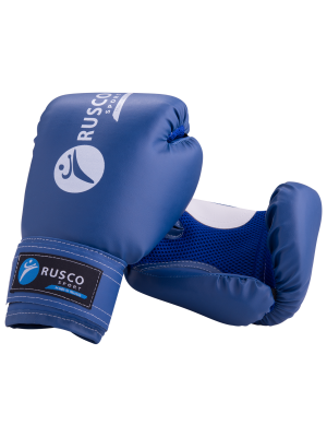 Перчатки боксерские детские, 4oz, к/з, синий Rusco