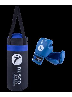 """Набор для бокса """"Rusco"""", цвет: черный/синий, 4 oz"""
