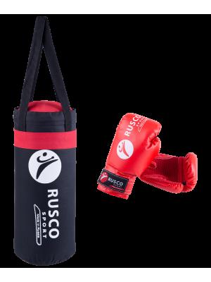 """Набор для бокса """"Rusco"""", цвет: черный/красный, 4 oz"""