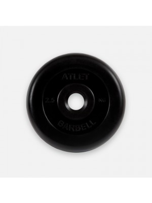 Диск обрезиненный черный MB atlet d-26 мм,  2,5 кг
